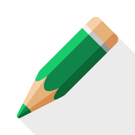 tip style design: Pencil icon with long shadow on white background