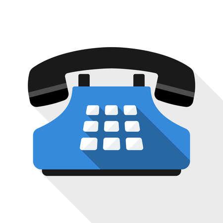 Drukknop telefoon platte icoon met lange schaduw op witte achtergrond Stock Illustratie