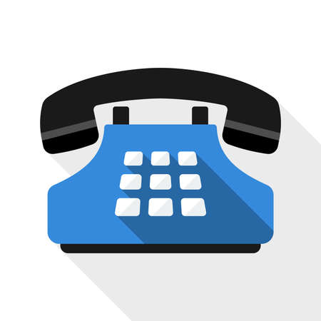 square button: Push-button telephone flat icon with long shadow on white background