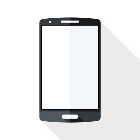 Smart phone icon with long shadow on white background Illustration