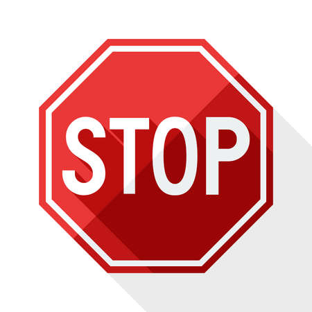 red sign: Stop sign with long shadow on white background