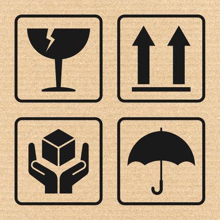 Vector fragiele tekenen op karton