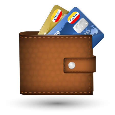 pocketbook: Leather wallet with credit cards inside. Vector illustration