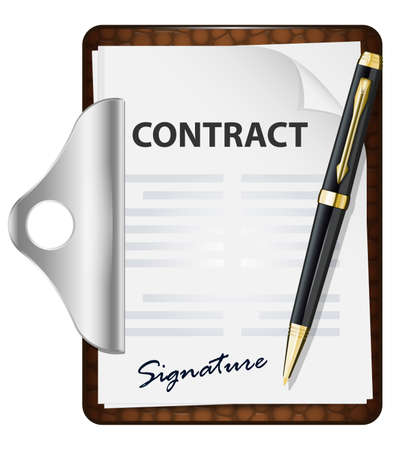 signing: Signing contract. Vector icon