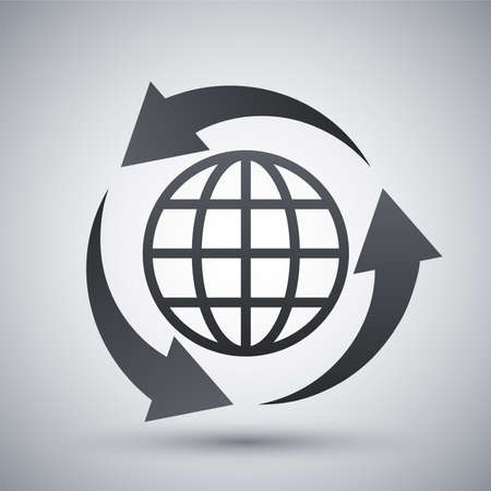 bin: Vector globe icon and recycle sign