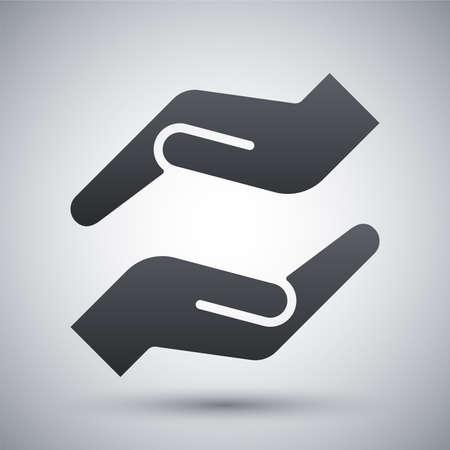 保護の手のアイコンをベクトルします。