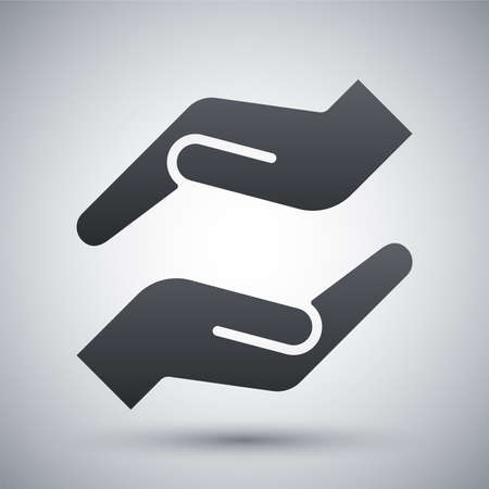 cupped: Vector protecting hands icon