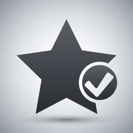 review site: Vector star favorite icon with check mark glyph