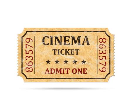 Retro cinema ticket op een witte achtergrond, vector illustratie Stock Illustratie