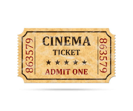 Retro cinema ticket on white background, vector illustration