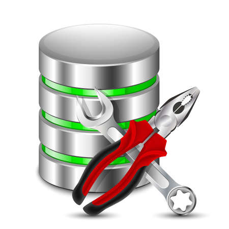 distributed: Database Configuration Icon. Vector Illustration