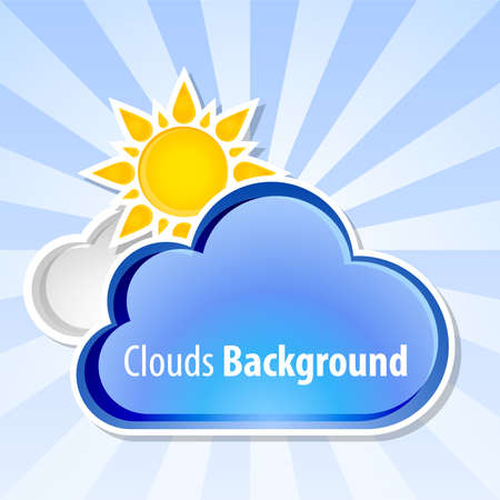 windstorm: Clouds background with sun, vector illustration