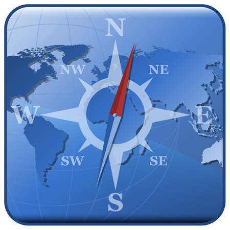 northeast: Vector world map and stylized compass icon