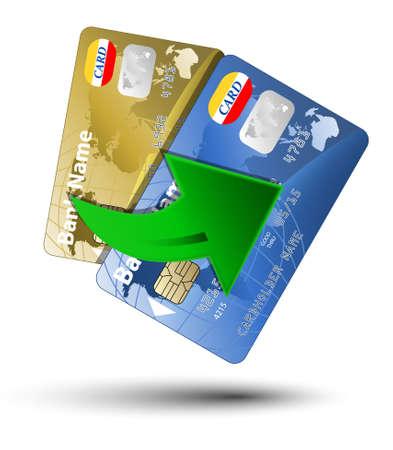 plastic money: Money transfer between plastic cards, vector