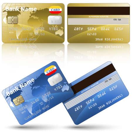 banco mundial: Tarjetas de crédito del vector, la frente y la espalda