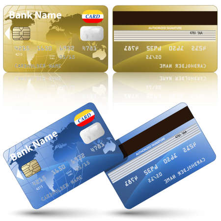 credit card payment: Vector credit cards, front and back view