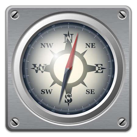 rosa dei venti: Vector bussola icona sulla lastra di metallo, vista frontale