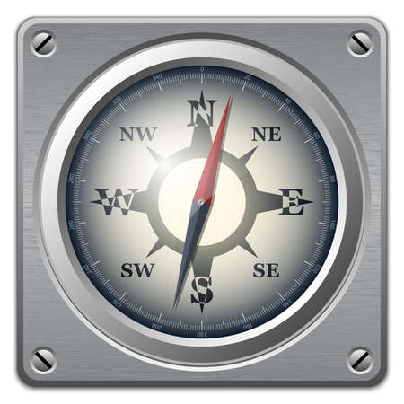 old compass: Vector compass icon on metal plate, front view