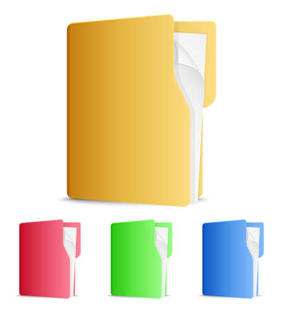 file folders: Vector file folders icons on white background