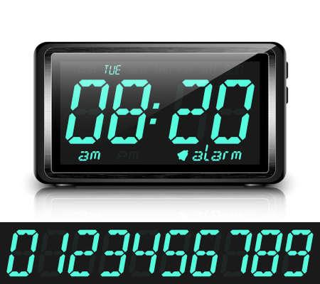 despertador: Reloj despertador digital. Ilustración vectorial
