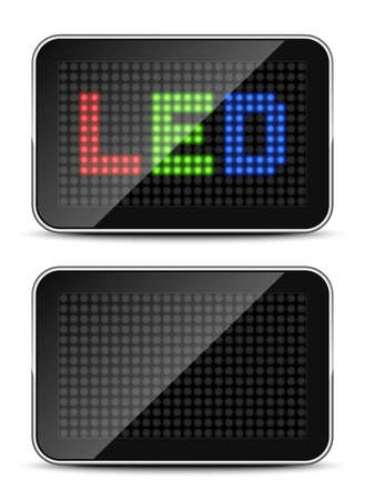 light emitting diode: Screen icons with LED text and empty