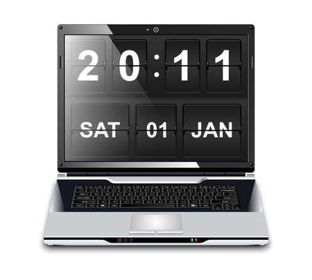 operating key: Modern Laptop with Flip Clock Screensaver, realistic vector illustration