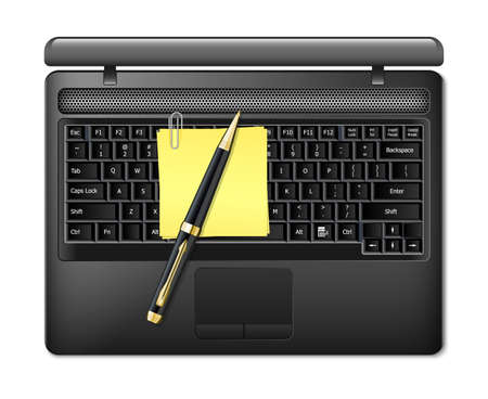sticky paper: Vector laptop with pen and sticky paper. Top view