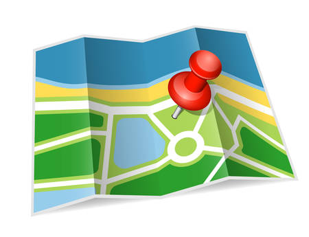 pinning: Paper map icon. Vector illustration