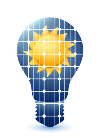 panels: Light bulb with solar panels texture and sun. Vector
