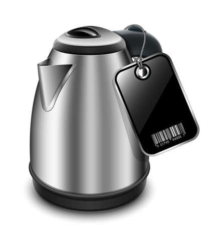 electric kettle: Electric kettle with blank price tag. Vector illustration