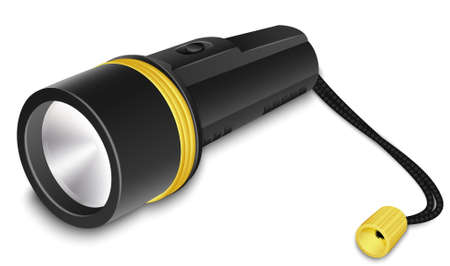 light emitting diode: Flashlight with small strap. Realistic vector illustration