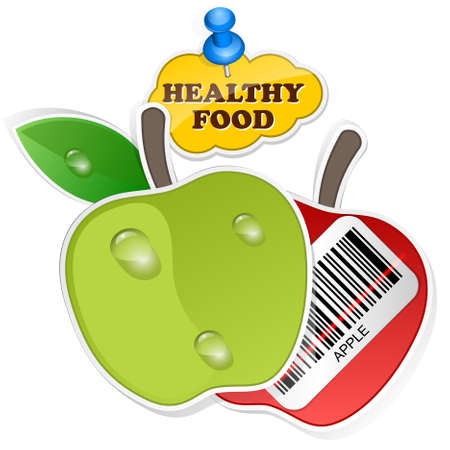 wholesome: Apple icon with barcode by healthy food. Vector illustration Illustration