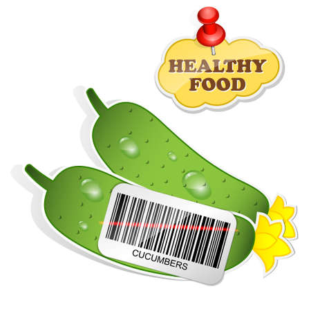 cucumbers: Healthy food icon from paper cucumbers stickers. Vector illustration