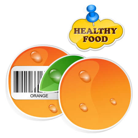 wholesome: Orange icon with barcode and healthy food sticker. Vector illustration Illustration