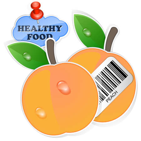 peachy: Peach icon with barcode and healthy food sticker. Vector illustration
