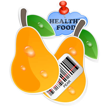 Pear icon with barcode and healthy food sticker. Vector illustration