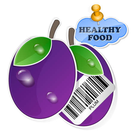 wholesome: Plum icon with barcode by healthy food. Vector illustration