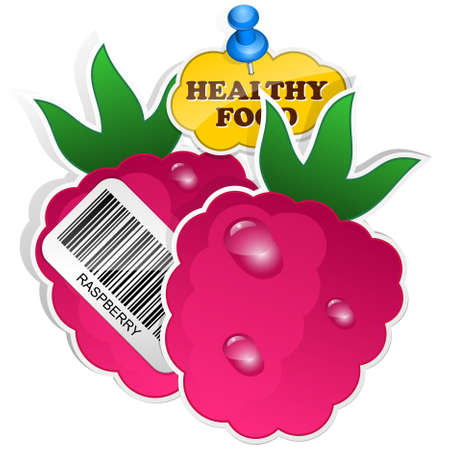 fructose: Raspberry icon with barcode and healthy food sticker. Vector illustration