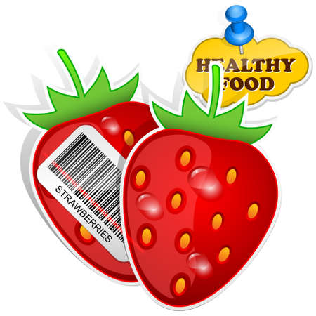 fructose: Icon strawberries with barcode by healthy food. Vector illustration Illustration