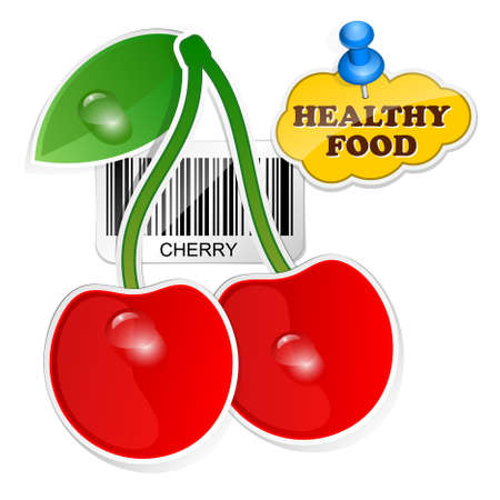wholesome: Cherry icon with barcode by healthy food. Vector illustration Illustration