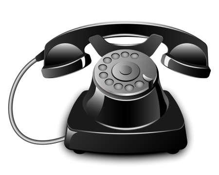 antiquated: Black Vintage Telephone. Vector illustration
