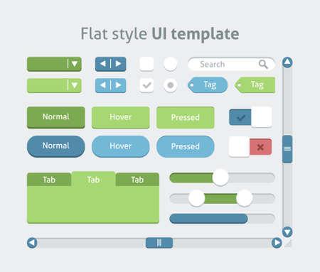 kit design: Flat style UI template, vector