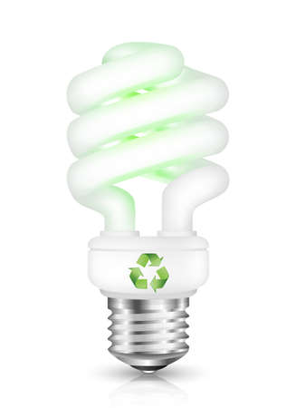 metal light bulb icon: Energy saving fluorescent light bulb with recycle sign. Vector illustration Illustration