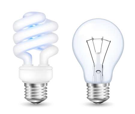 incandescent: Fluorescent energy saving and incandescent light bulbs. Vector Illustration