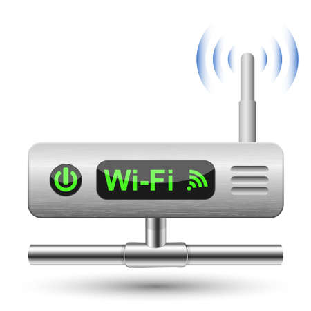 red lan: Wireless Router icono con una conexi�n LAN