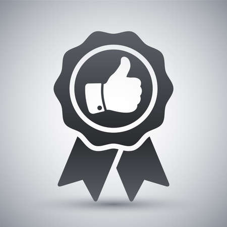 thumbs up icon: Vector badge with thumbs up icon