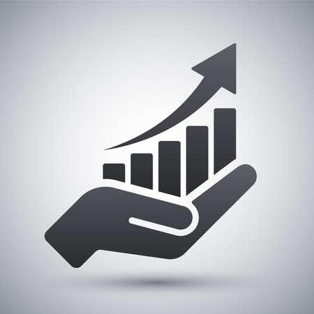 grafica de barras: crecimiento icono gr�fico de la mano