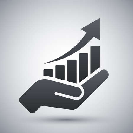 sales: growing graph icon on the hand Illustration