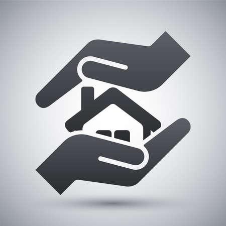 Vector huis pictogram beschermen Stock Illustratie