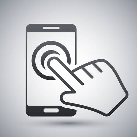 touch screen hand: touch screen smartphone icon Illustration